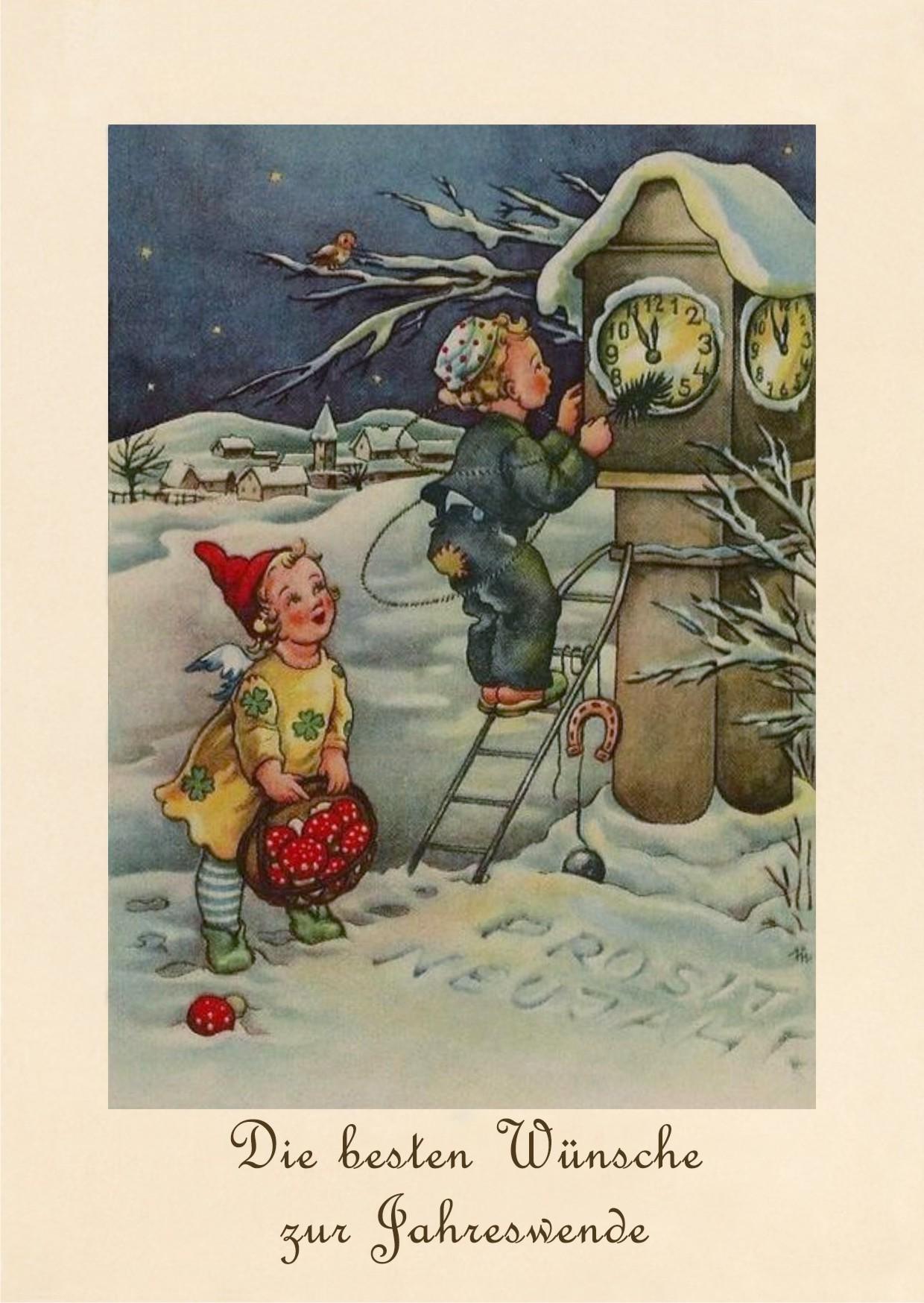 Пожелания, немецкие старые новогодние открытки