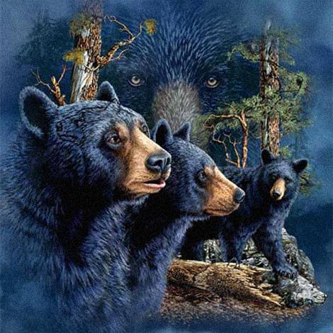 Чёрные медведи - Барибалы :: картина-загадка :: Стивен Гарднер