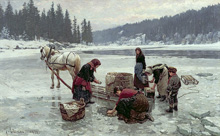 Прачки (Women doing laundry through a hole in the ice), Ekenaes Jahn, 1891 год