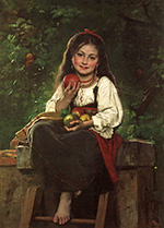 Сбор яблок (The Apple Picker) :: Леон Жан Базиль Перро, 1879 год